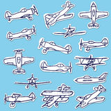 Retro Hand Drawn Airplanes Vector Set Stock Photos