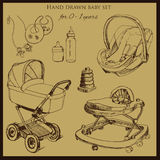 Retro hand drawn baby set for 1-2 years old. Vector iilustration of retro hand drawn baby set for 0-1 years old. Include pram, auto seat and baby walker. Design Royalty Free Stock Photography