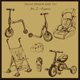 Retro hand drawn baby set for 2-4 years old. Vector illustration of retro hand drawn baby set for 2-4 years old. Includes pram, auto seat, balance bike, tricycle Royalty Free Stock Images