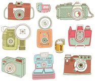 Retro Hand Drawn Camera Design Elements royalty free illustration