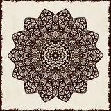 Retro hand-drawn card with mandala. Vintage background with place for text. Can be used for invitation, banner, others cards. Stock Photo