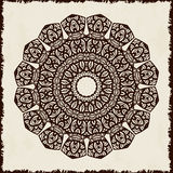 Retro hand-drawn card with mandala. Vintage background with place for text. Can be used for invitation, banner, others cards. Royalty Free Stock Photos