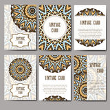 Retro hand-drawn card with mandala. Vintage background with place for text. Can be used for invitation, banner, others cards. Stock Image