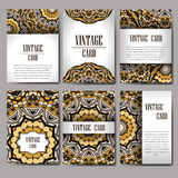 Retro hand-drawn card with mandala. Vintage background with place for text. Can be used for invitation, banner, others cards. Royalty Free Stock Image