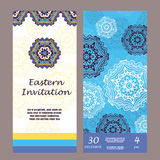Retro hand-drawn card with mandala. Vintage background with place for text. Can be used for invitation, banner, others cards. Chri Royalty Free Stock Image