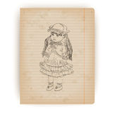 Retro hand drawn doll Royalty Free Stock Photo