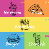 Retro hand drawn fast food vector posters set Royalty Free Stock Photo