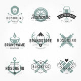 Retro Hand Drawn Logos Vector Templates Set Stock Images