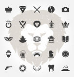 Retro Hand Drawn Objects and Icons Vector Design Stock Images