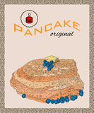 Retro hand drawn poster with pancakes, blueberry and butter. Stock Photos