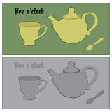 Retro hand-drawn poster in soft colors. The traditional tea party at five pm. Five oclock Royalty Free Stock Images