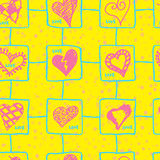 Retro hand-drawn sketches color seamless background with hearts for valentines and wedding day Stock Photography