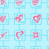 Retro hand-drawn sketches color seamless background with hearts for valentines and wedding day Royalty Free Stock Photo
