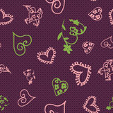 Retro hand-drawn sketches color seamless background with hearts for valentines and wedding day Stock Photos