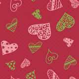 Retro hand-drawn sketches color seamless background with hearts for valentines and wedding day Royalty Free Stock Images