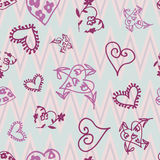 Retro hand-drawn sketches color seamless background with hearts for valentines and wedding day Stock Image