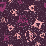Retro hand-drawn sketches color seamless background with hearts for valentines and wedding day Royalty Free Stock Photography