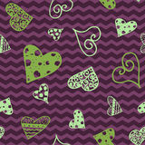 Retro hand-drawn sketches color seamless background with hearts for valentines and wedding day Royalty Free Stock Photos