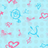 Retro hand-drawn sketches color seamless background with love symbols for valentines and wedding day Stock Photos