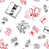 Retro hand-drawn sketches seamless background with love symbols for valentines and wedding day Royalty Free Stock Photo