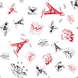 Retro hand-drawn sketches seamless background with love symbols for valentines and wedding day Royalty Free Stock Image