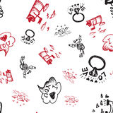 Retro hand-drawn sketches seamless background with love symbols for valentines and wedding day Stock Photography