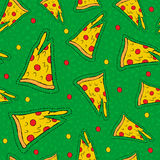 Retro hand drawn stitch patch pizza background Royalty Free Stock Photography