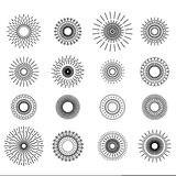 Retro Hand Drawn Sunburst Set Royalty Free Stock Images