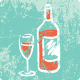 Retro Hand Drawn Textured Icon - Bottle of Wine Royalty Free Stock Photos