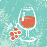 Retro Hand Drawn Textured Icon - Wine Royalty Free Stock Images