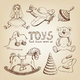 Retro hand drawn toys. Doll airplane whirligig teddy bear Royalty Free Stock Photography