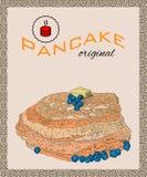 Retro hand getrokken affiche met pannekoeken, bosbes en boter Stock Foto's