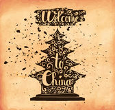 Retro hand lettering is a poster on the theme of travel and adventure abroad. Familiarity with Chinese culture. Vector Stock Image