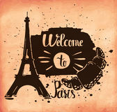 Retro hand lettering is a poster on the theme of travel and adventure abroad. France and attractions of Paris. Vector Stock Photography