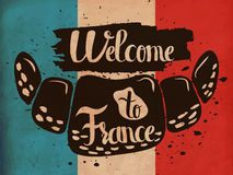 Retro hand lettering is a poster on the theme of travel and adventure abroad. Gastronomic tour of France. Vector Stock Photo