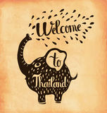 Retro hand lettering is a poster on the theme of travel and adventure abroad. Thailand. Vector Royalty Free Stock Photography