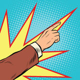 Retro hand pointing to the right up. comic background. Pop art vector illustration Stock Images