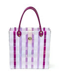 Retro handbag made of woven plastic. Royalty Free Stock Photos