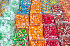 Retro, handmade colorful candies and licider hearts at a fair: bonbons Stock Photo