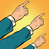 Retro hands pointing to the right up. Pop art vector illustration Royalty Free Stock Images