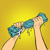 Retro hands squeezed the wash cloth Royalty Free Stock Images