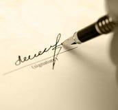 Retro handtekening stock foto