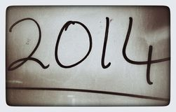 Retro 2014 Handwritten on Photo Stock Photography
