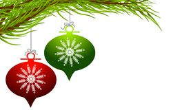 Retro Hanging Christmas Ornaments Royalty Free Stock Photography