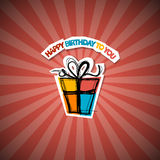 Retro Happy Birthday Red Background Royalty Free Stock Image