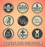Retro Happy Easter Labels and Icons Stock Images