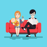 Retro Happy Family Modern Flat Design Concept Royalty Free Stock Images
