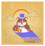 Retro happy groundhog day. Greeting card. Holiday - happy groundhog day. Icon in the linear style. Retro vector illustration