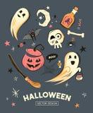 Retro Happy Halloween Designs stock illustration