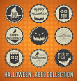 Retro Happy Halloween Labels and Icons. Vintage style collection of Happy Halloween labels and icons with orange background Royalty Free Stock Photos